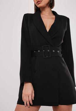 Черное платье-пиджак с поясом