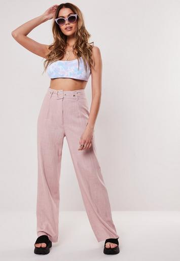 Petite Pink Linen Blend Self Fabric Belt Trousers by Missguided