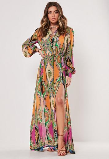 petite-pink-paisley-print-chiffon-maxi-dress by missguided