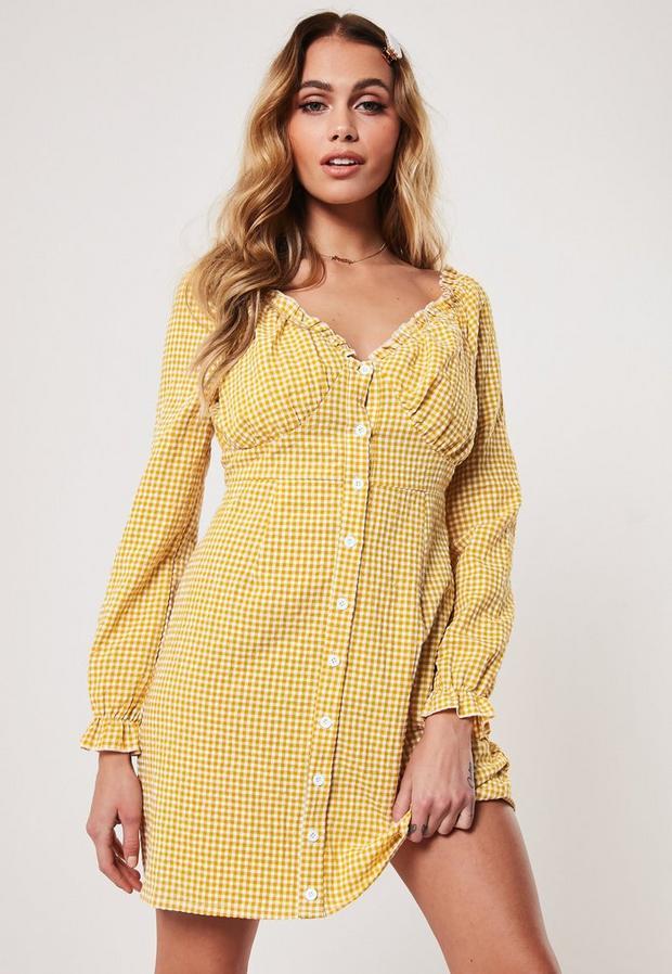 Petite Yellow Gingham Milkmaid Mini Dress