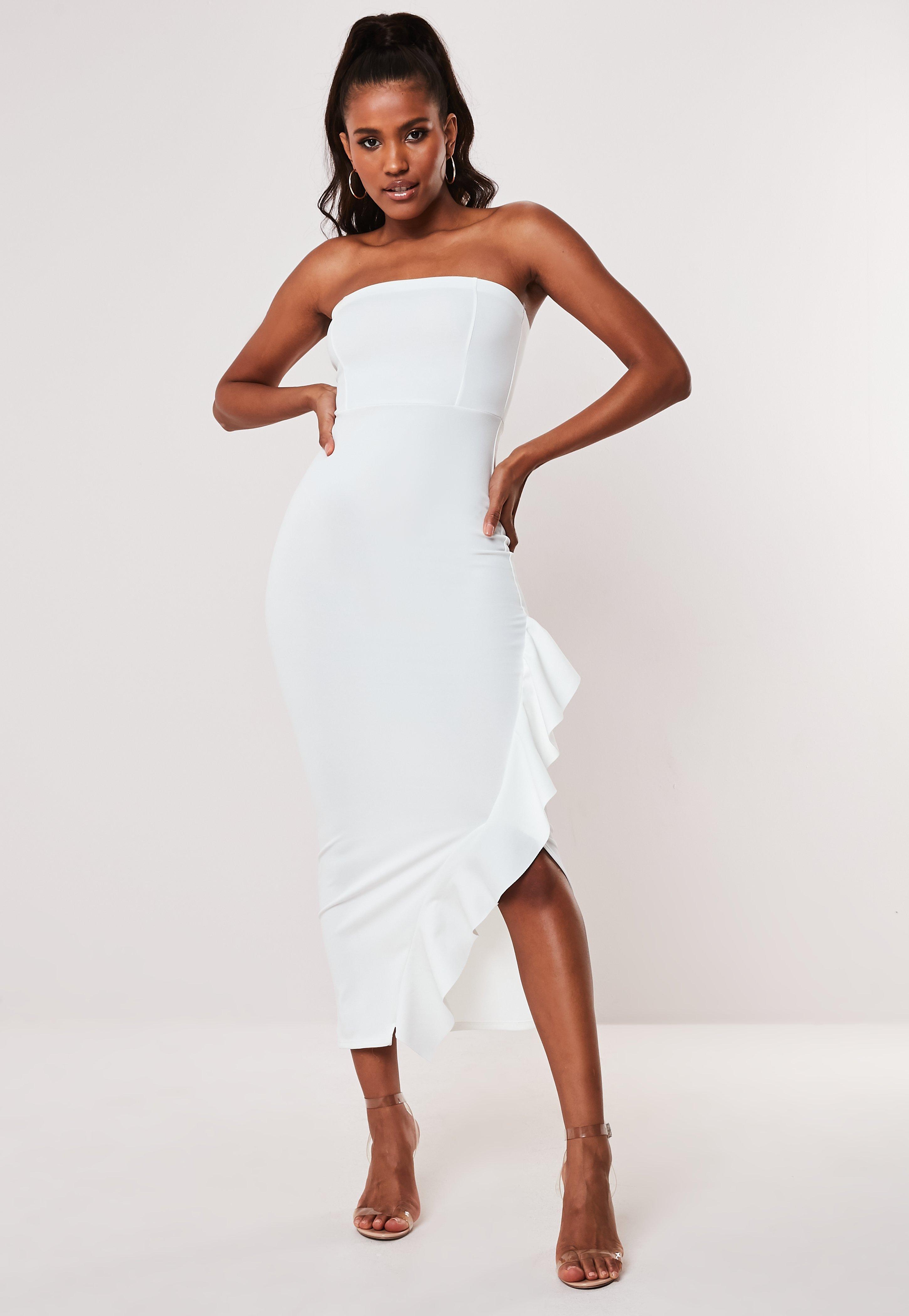 8a59c354976 Petite Biała sukienka midaxi na jedno ramię