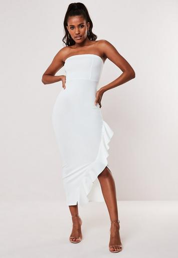 Petite White Strapless Frill Maxi Dress by Missguided