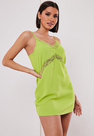 5e68630238ef £18.00. petite lime lace insert cami dress