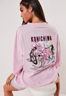 Розовое платье-футболка с принтом Konichiwa