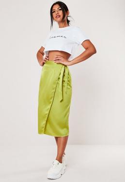 b0e92f137216 Tall Lilac Leopard Print Satin Slip Midi Skirt · Petite Lime Satin Wrap  Over Midi Skirt