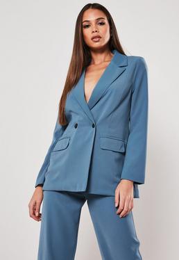 Petite Blue Co Ord Длинный пиджак