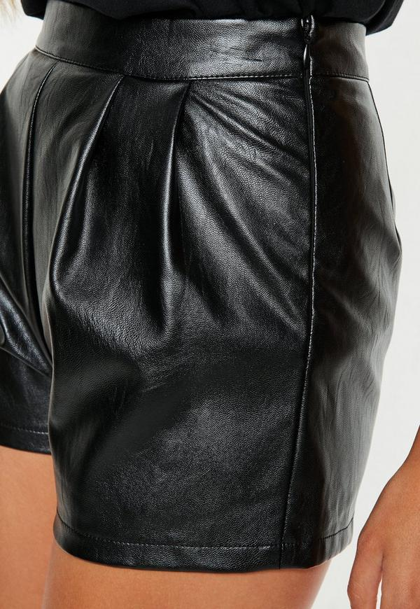 petite black faux leather shorts  missguided