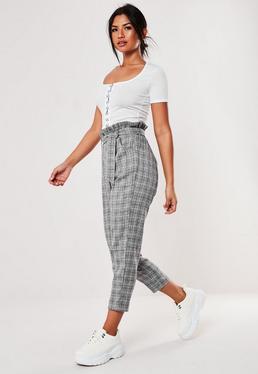 b895a065c0d7 Tall Pink Paperbag Waist Cigarette Trousers · Tall Grey Check Paperbag  Waist Trousers