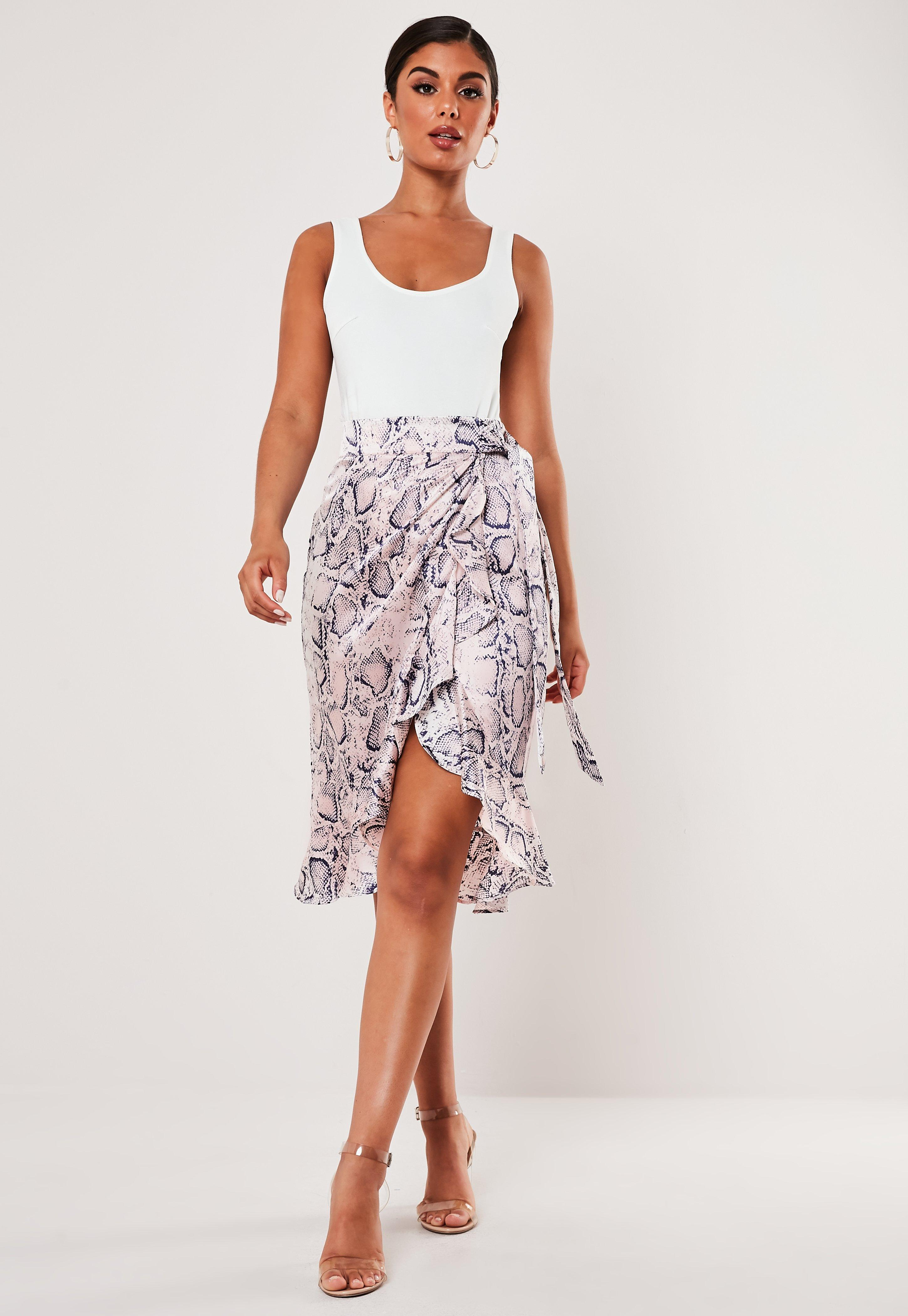 fashionable patterns quality first official supplier Petite Pink Snake Print Frill Midi Skirt