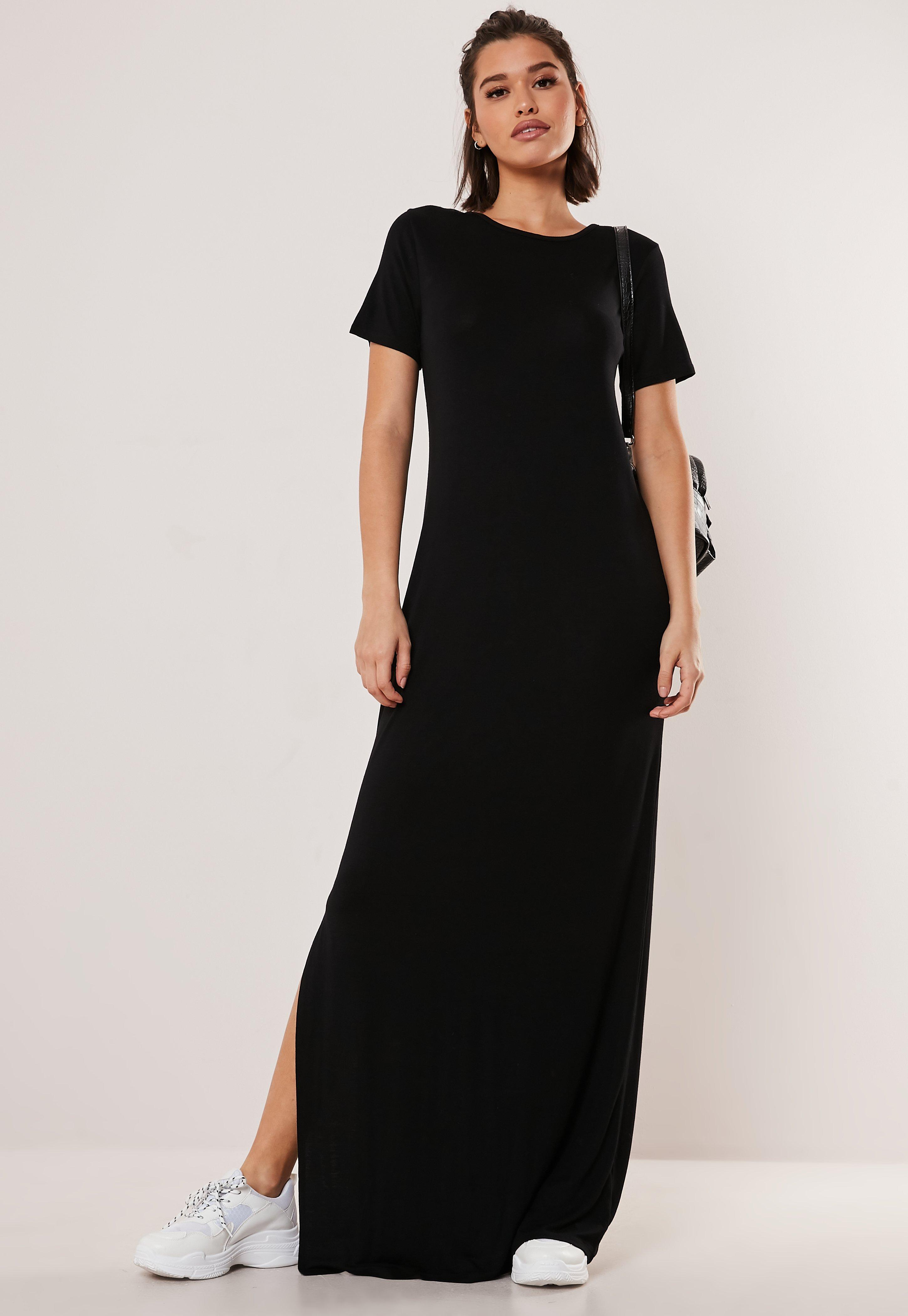 f82d294e7e4d3 Petite Black Basic Side Split T Shirt Maxi Dress
