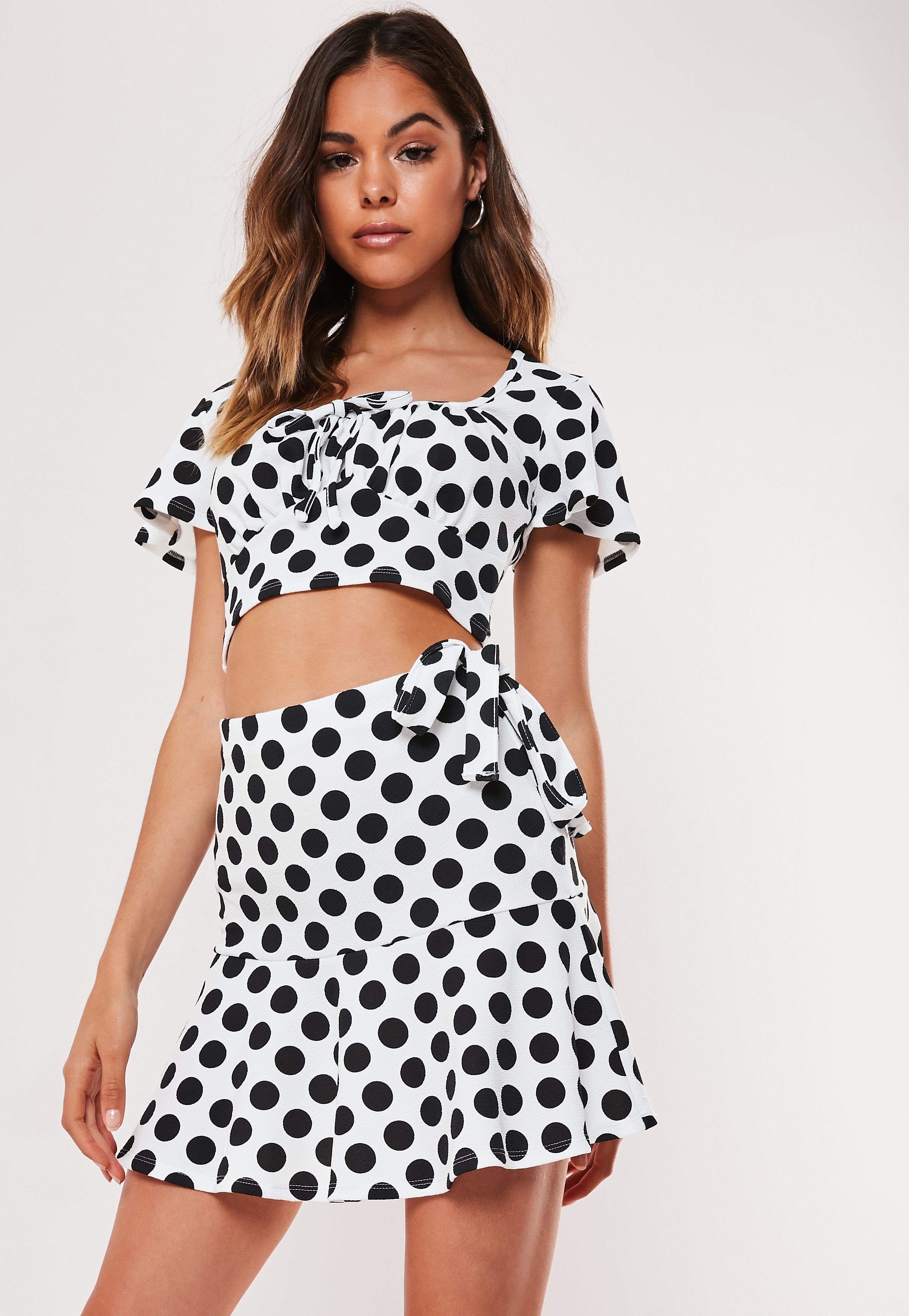 9e6df30a53 Petite White Co Ord Polka Dot Frill Hem Mini Skirt