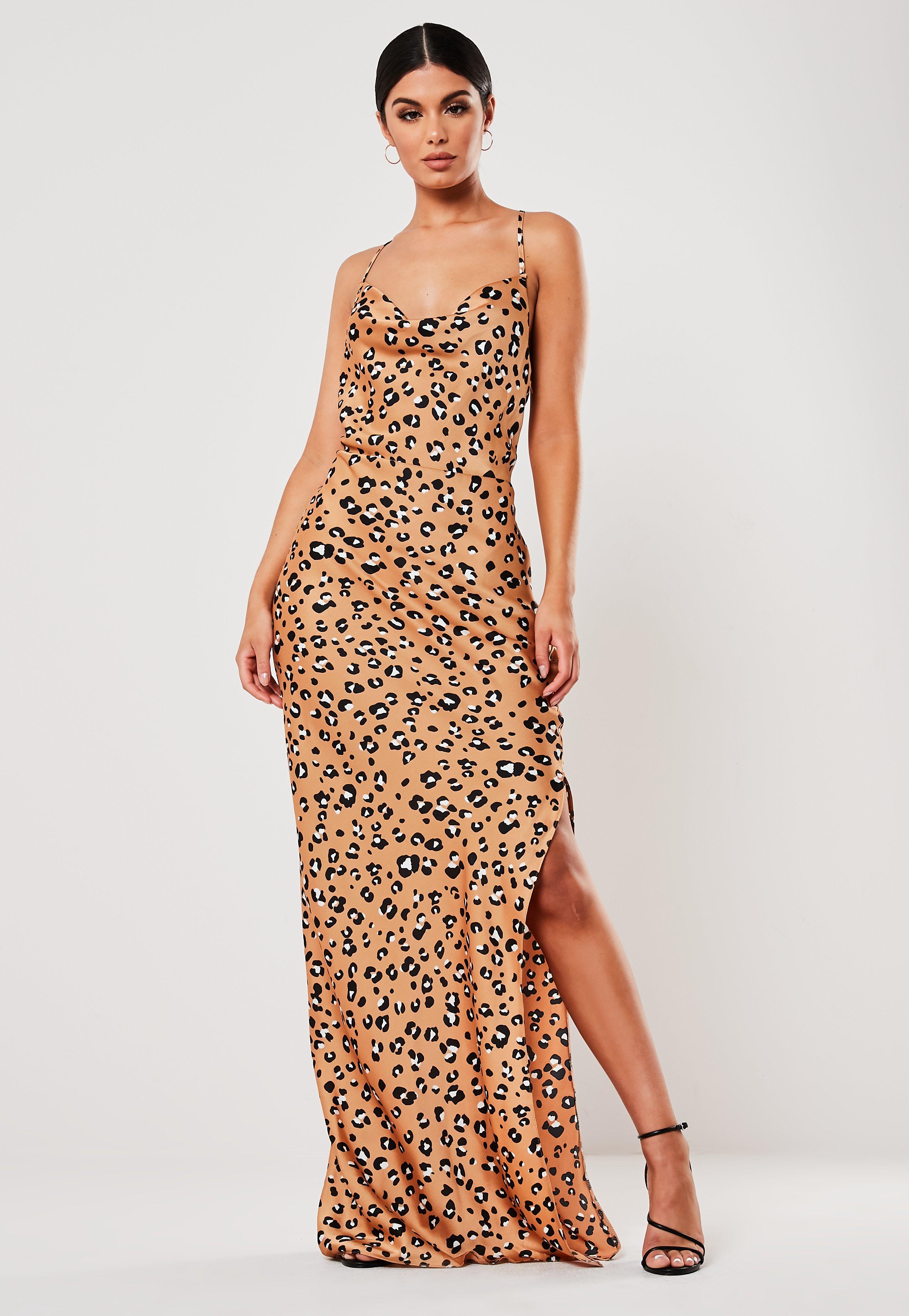c80a4d12b2d Petite Brown Satin Animal Print Maxi Dress