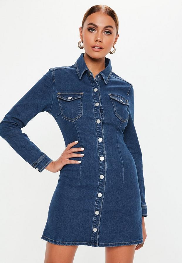 Petite Blue Dark Wash Button Through Fitted Denim Dress