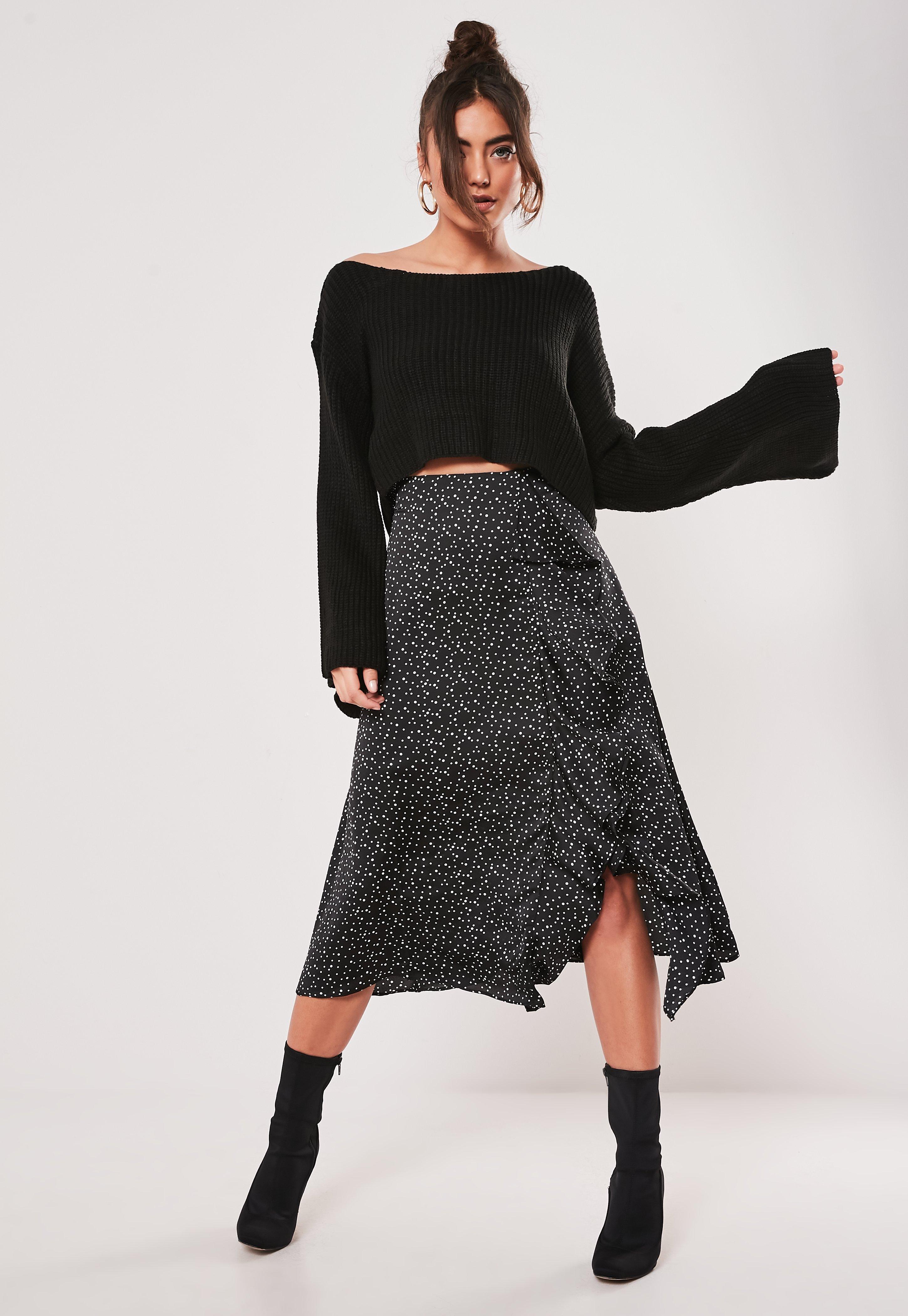 best selection of 2019 convenience goods huge range of Petite Black Polka Dot Frill Midi Skirt