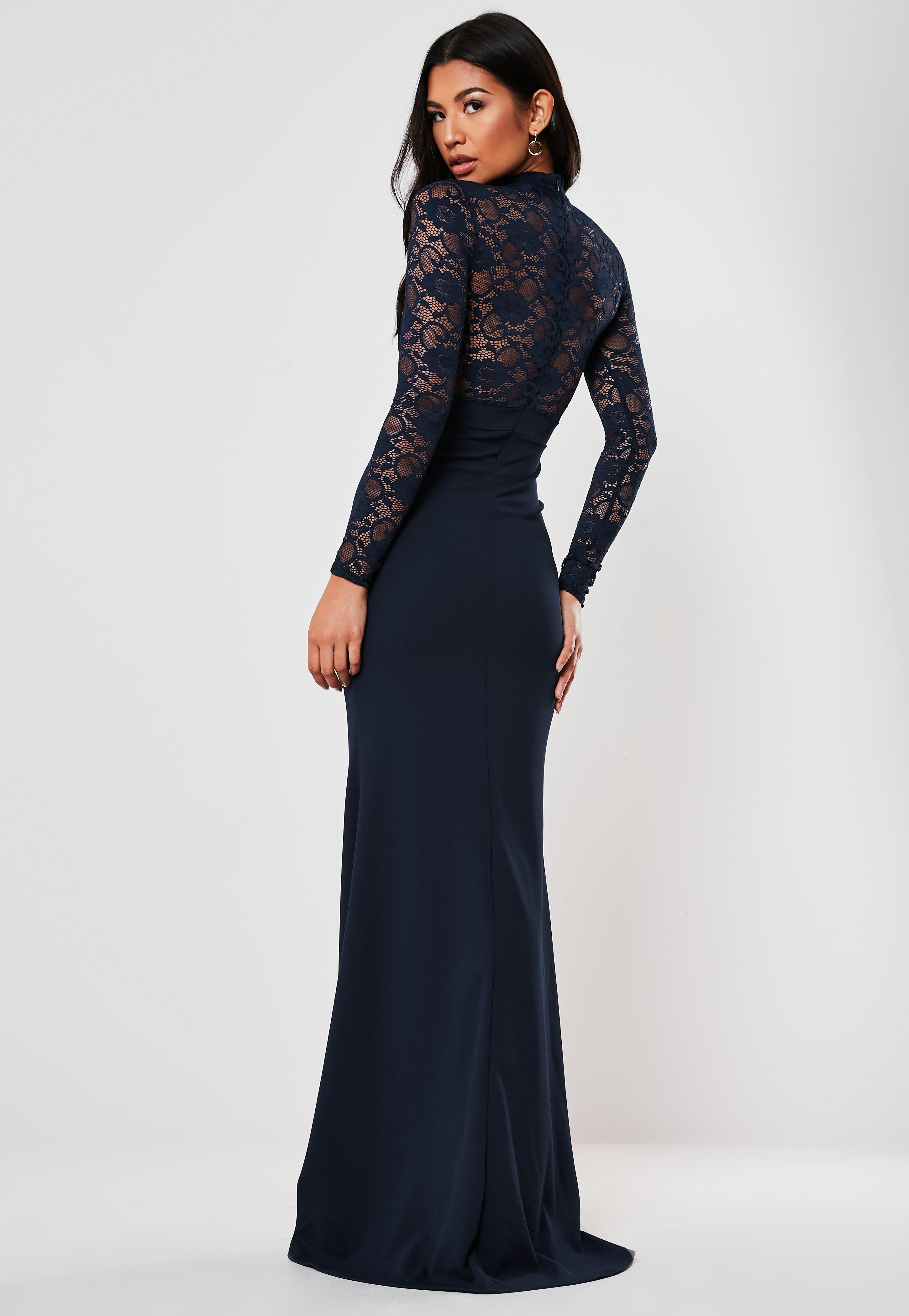 detailed images best deals on new lifestyle Petite Bridesmaid Navy Sheer Lace High Neck Maxi Dress
