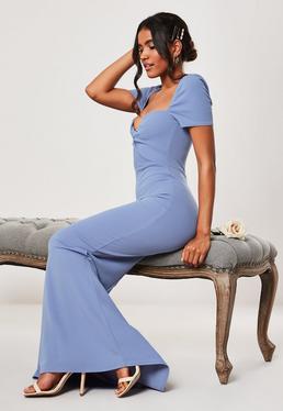 Синее платье макси для подружек невесты с голубым вырезом