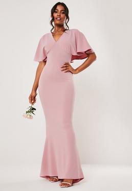 Розовое платье макси с V-образным вырезом и V-образным вырезом для подружек невесты