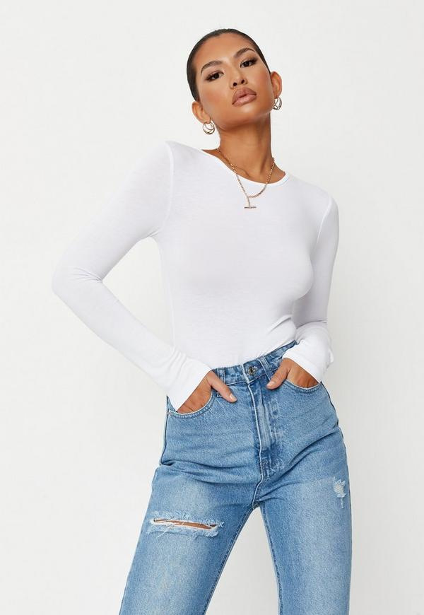 Petite White Long Sleeved Jersey Bodysuit by Missguided