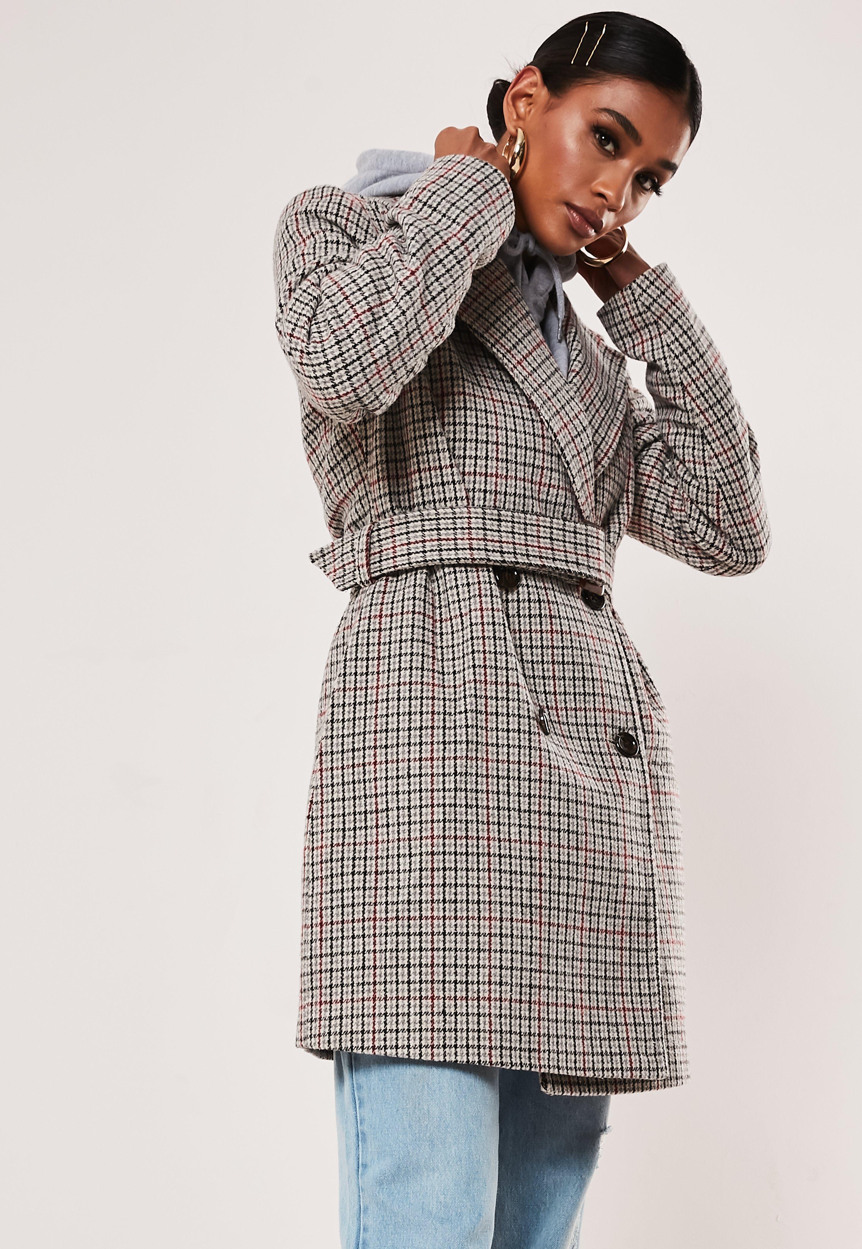 mit Gürtel aus Grau in Mantel Zweireihigerkarierter Wollmischung Petite ZXOTPiku