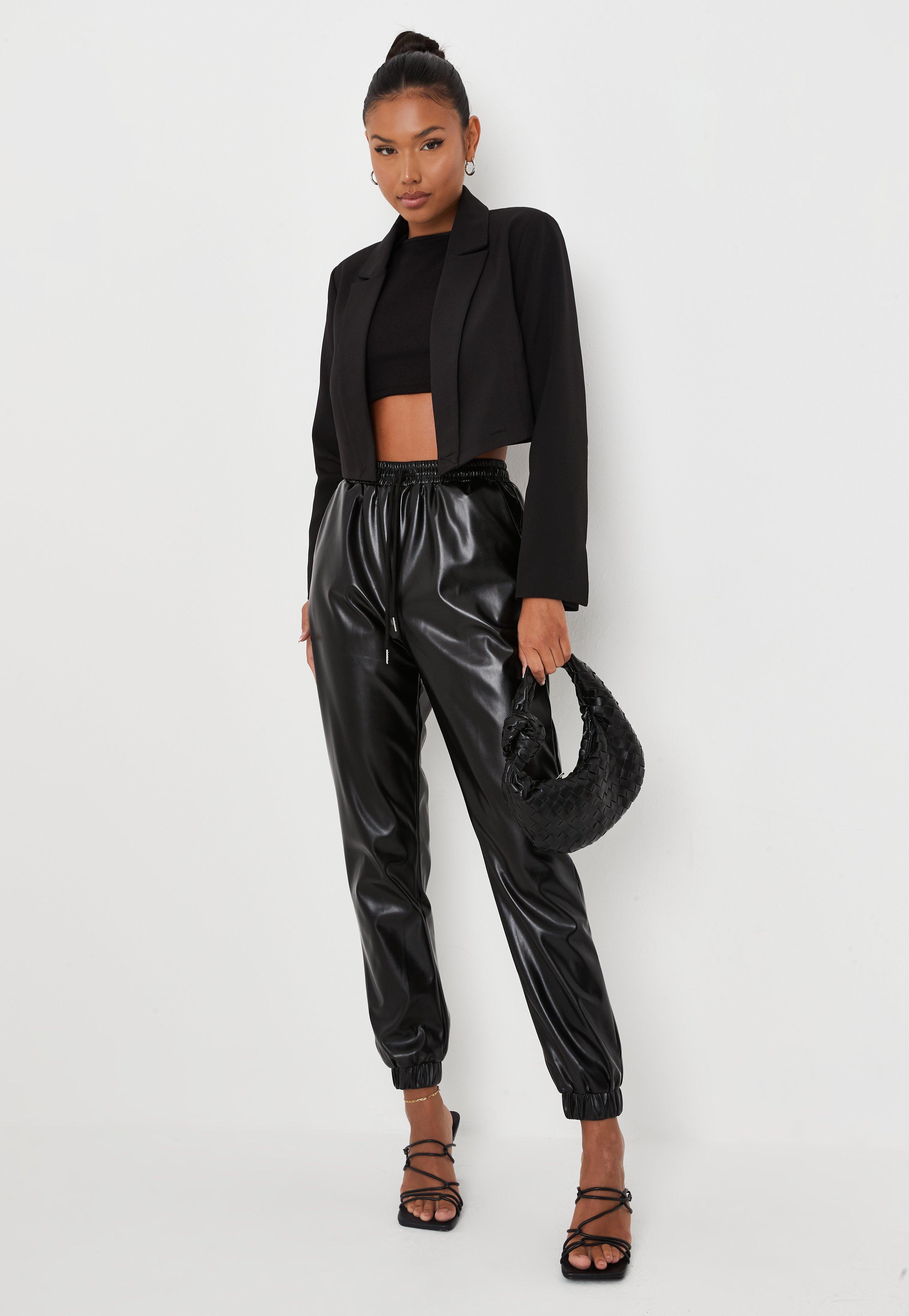 High Waist wetlook cuir synthétique simili Pantalon Jogpants