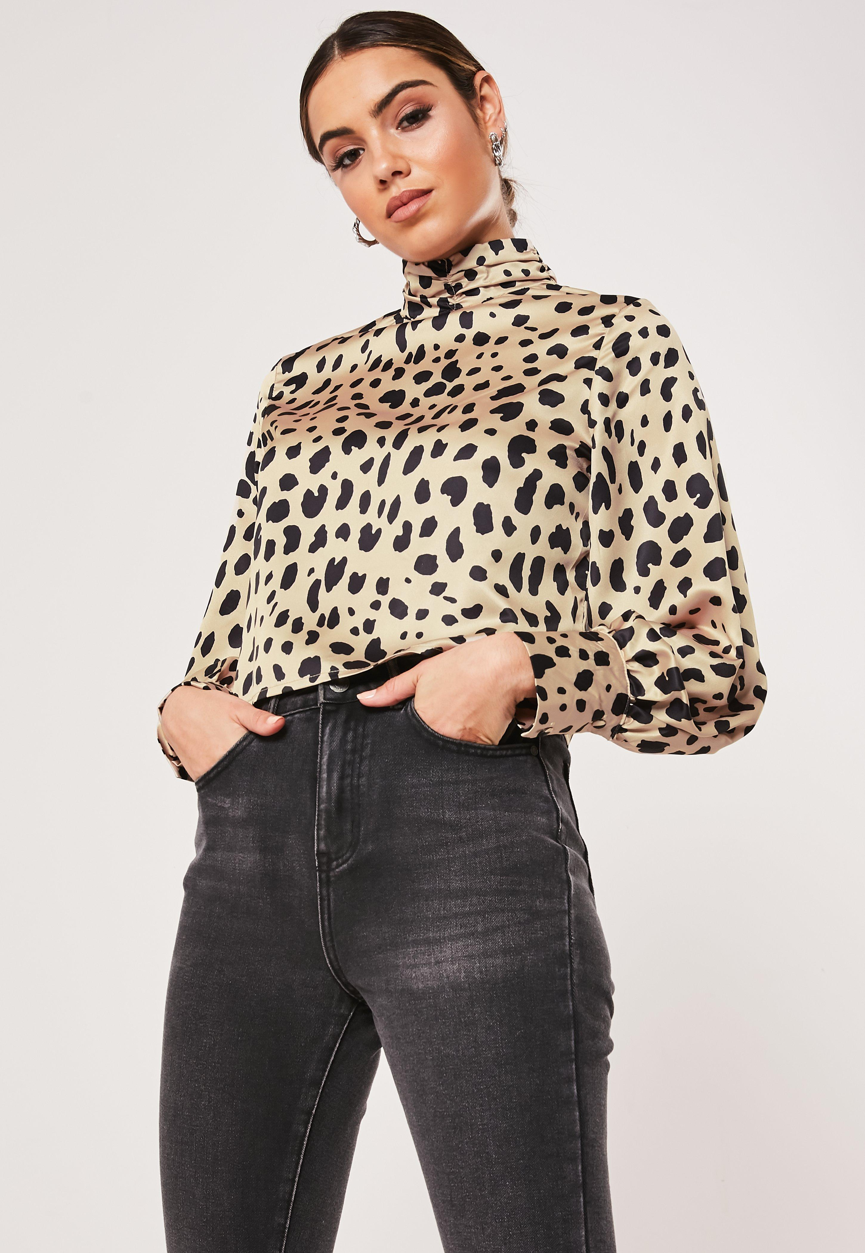 Animal Print Collared Turn Up Sleeves Top Blouse Size  8-20