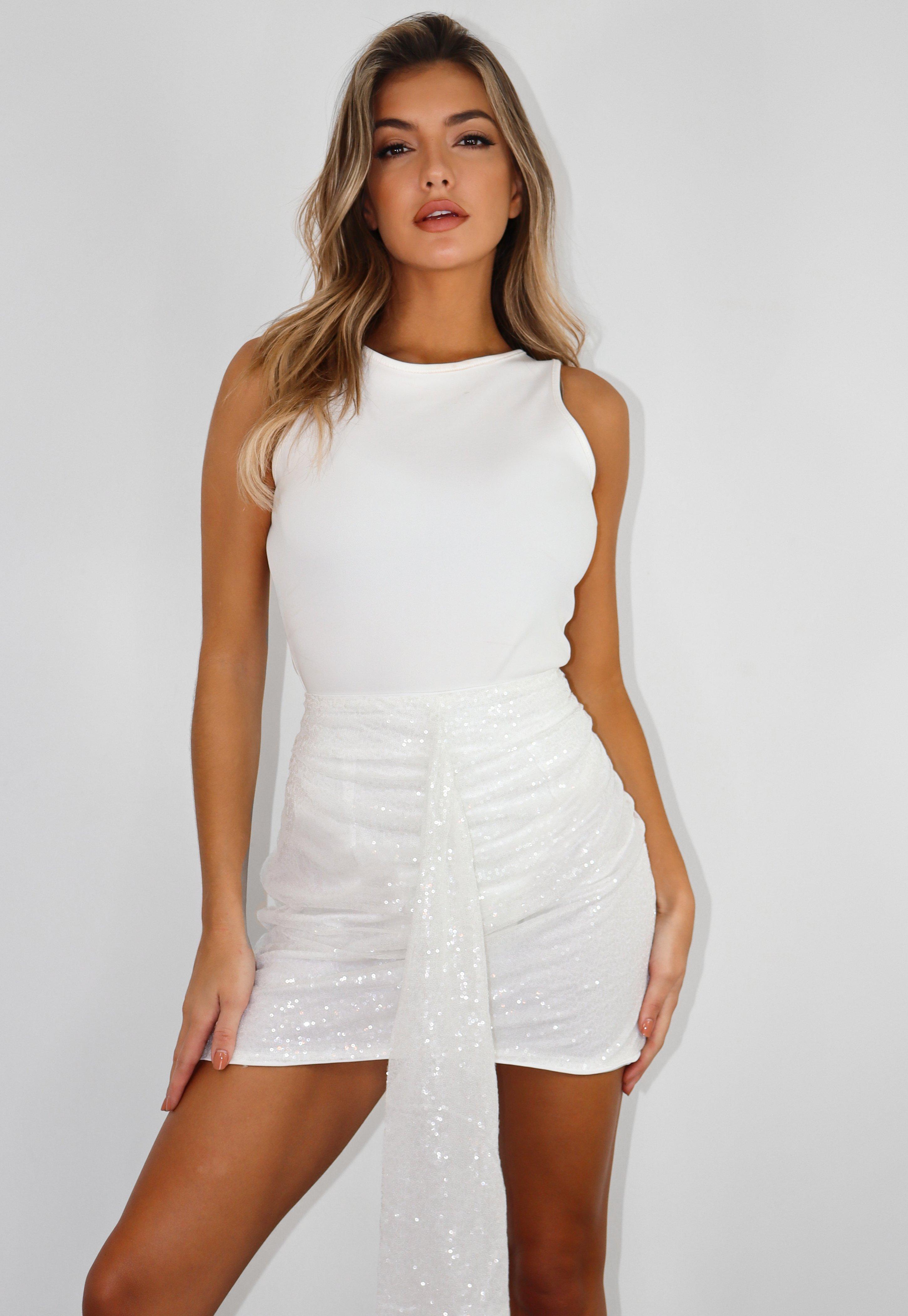 Petite Biała spódnica mini z rozporkami   Missguided