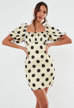 Petite Kremowa satynowa sukienka milkmaid w kropki