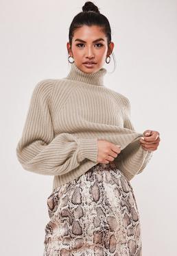 Petite Jasnobr?zowy pr??kowany sweter z wywijanym golfem