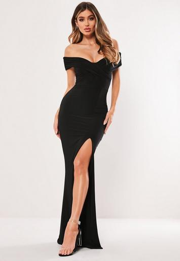 petite black bardot wrap slit slinky maxi dress