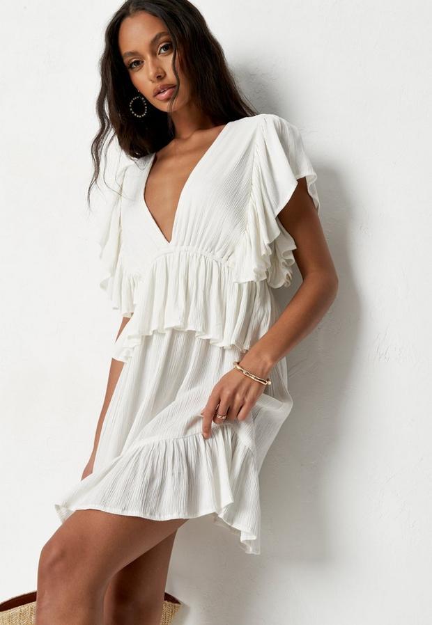Petite Cream Frill Sleeve Plunge Smock Mini Dress
