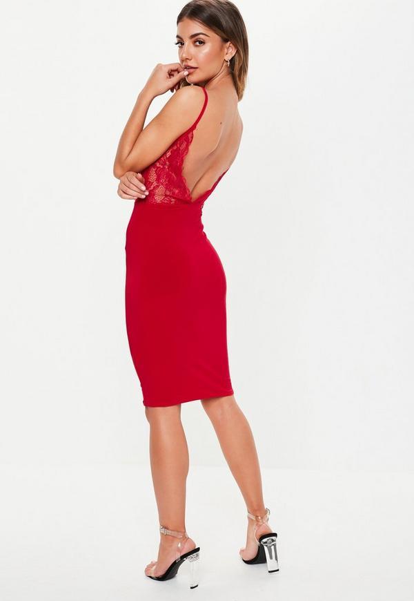 Petite Red Lace Open Back Midi Dress