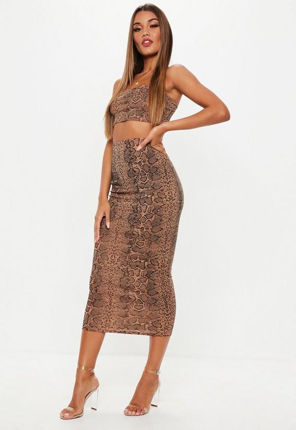 Petite Snake Print Ribbed Skirt and Crop Top Co Ord Set