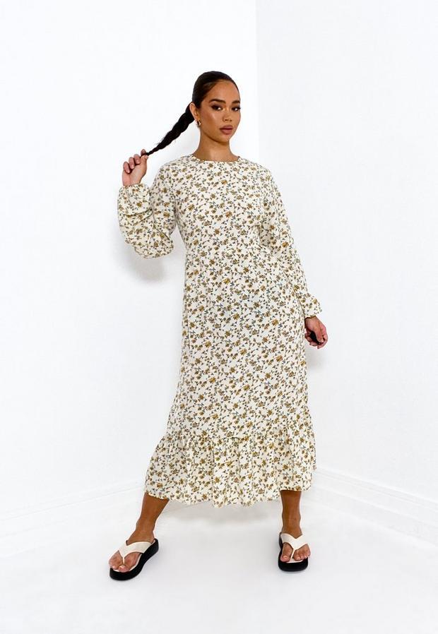 Petite Cream Floral Satin Ruffle Hem Midi Smock Dress