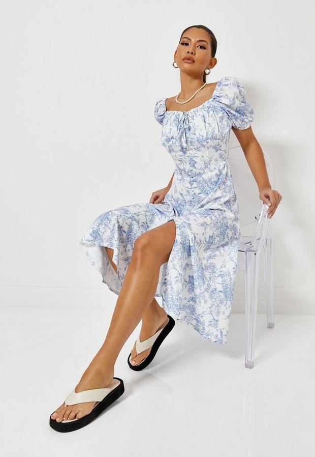 Petite Blue Milkmaid Button Front Midi Dress