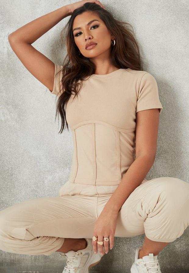 petite stone rib short sleeve corset t shirt