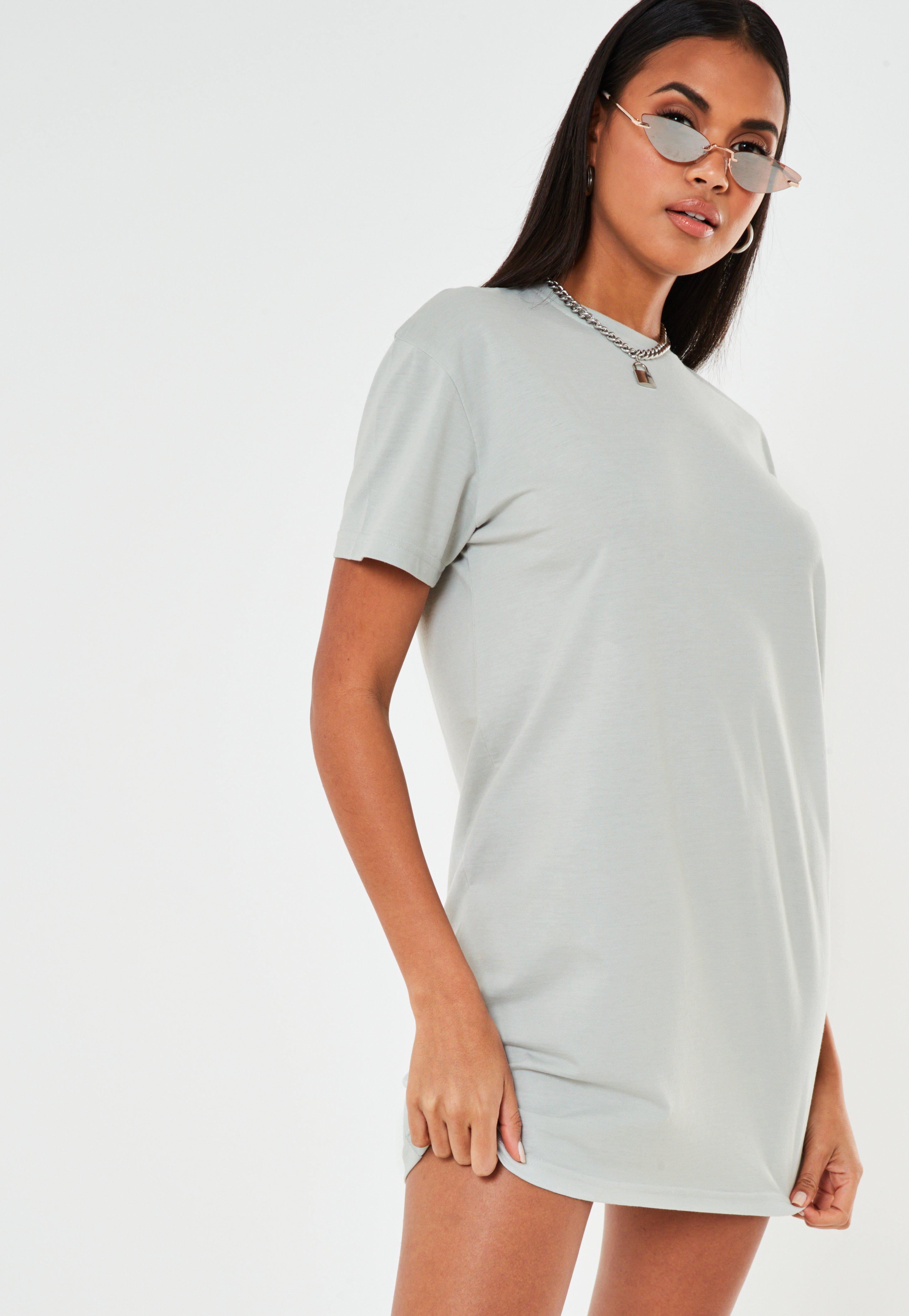 Petite Pastel Blue Basic T Shirt Dress