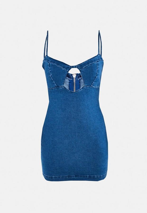 petite blue denim cut out mini dress