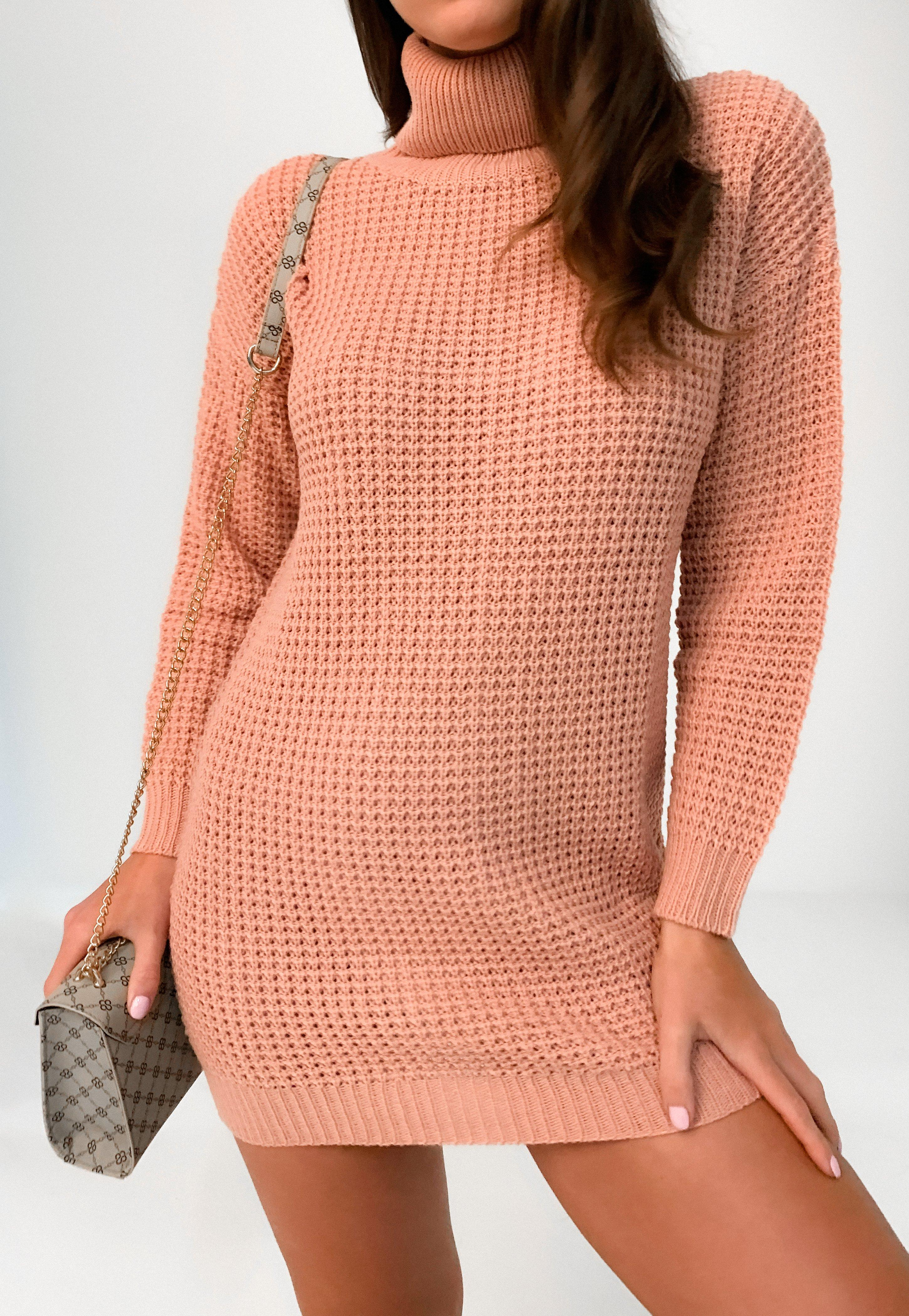 Petite Pink Roll Neck Knitted Jumper Dress | Missguided