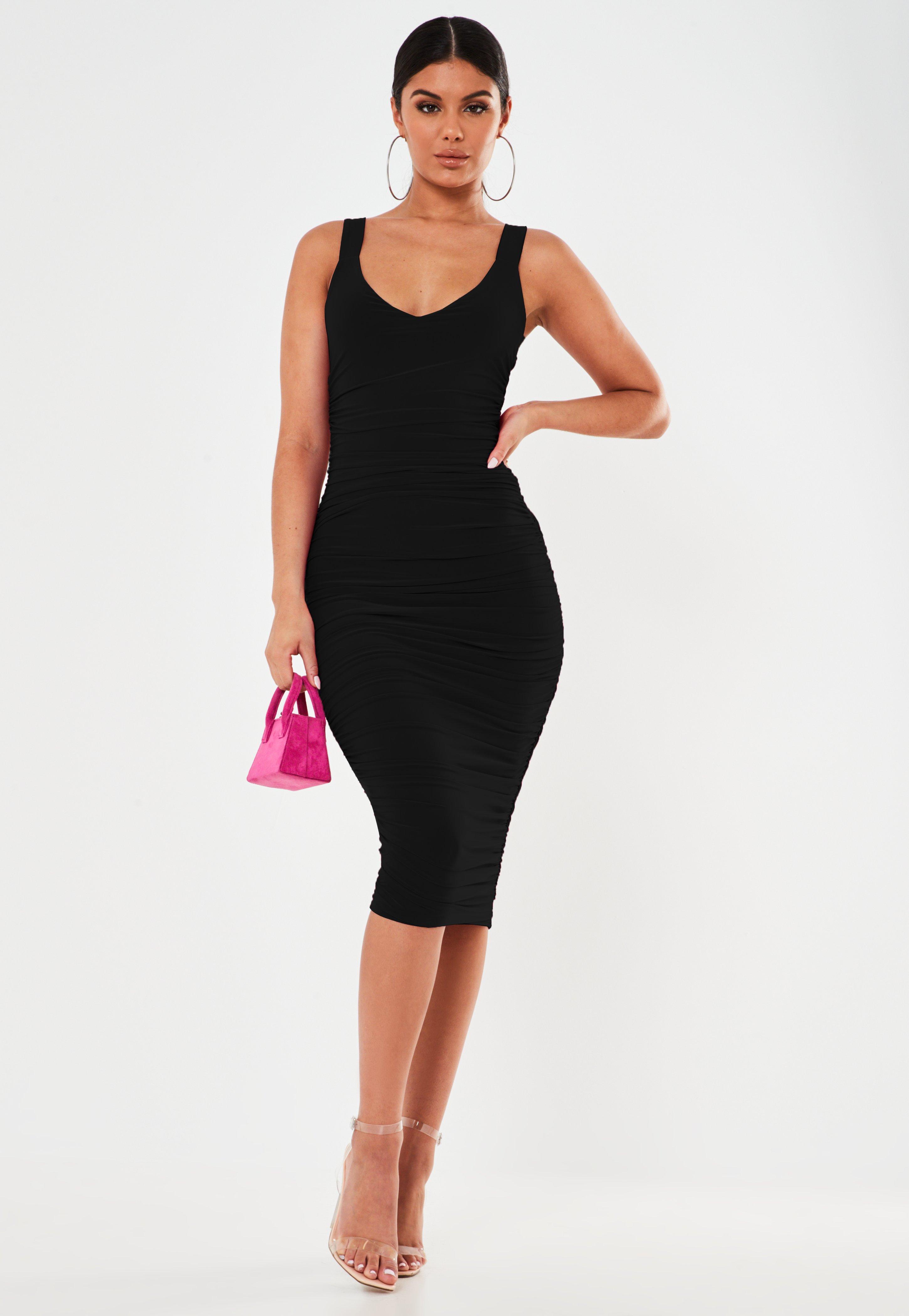 Short Black Evening Dress Ladies Size 12 Bodycon Embellished Plunge V Neckline