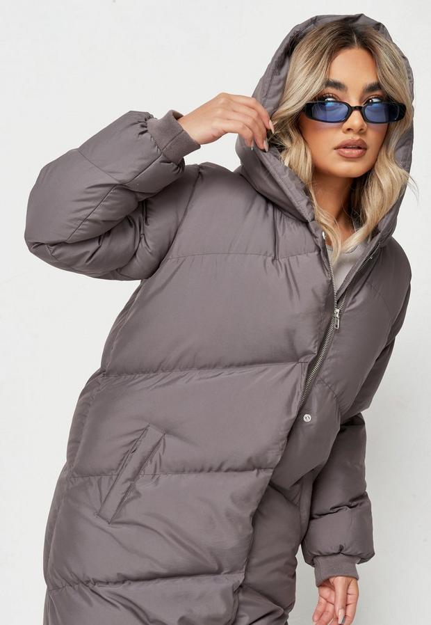 petite gray long puffer coat