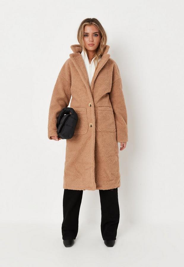 Brun Manteau marron clair en peau lainée avec poche petite, Brun