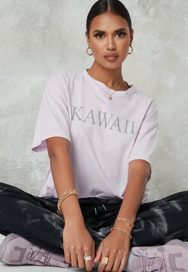 T-shirt oversize lilas kawaii petite, Lilas