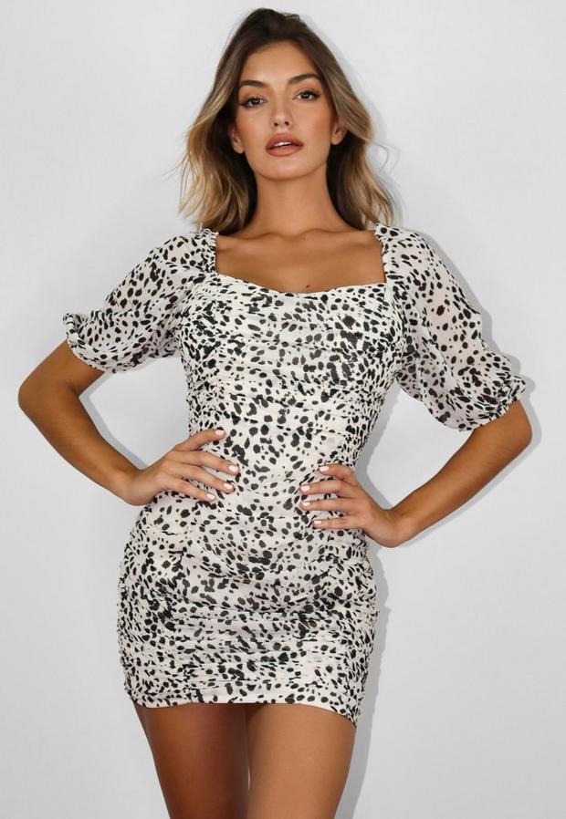 petite cream dalmatian print puff sleeve mini dress