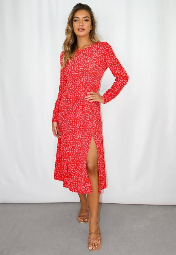 petite red floral print ruched bust midi dress