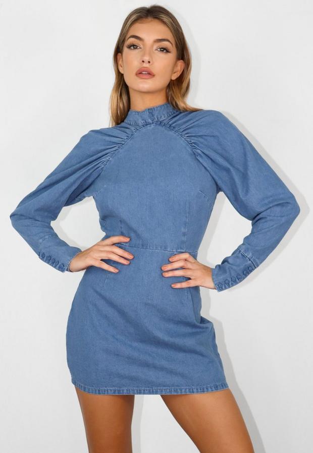 Petite Blue Denim Victorian Sleeve Mini Dress