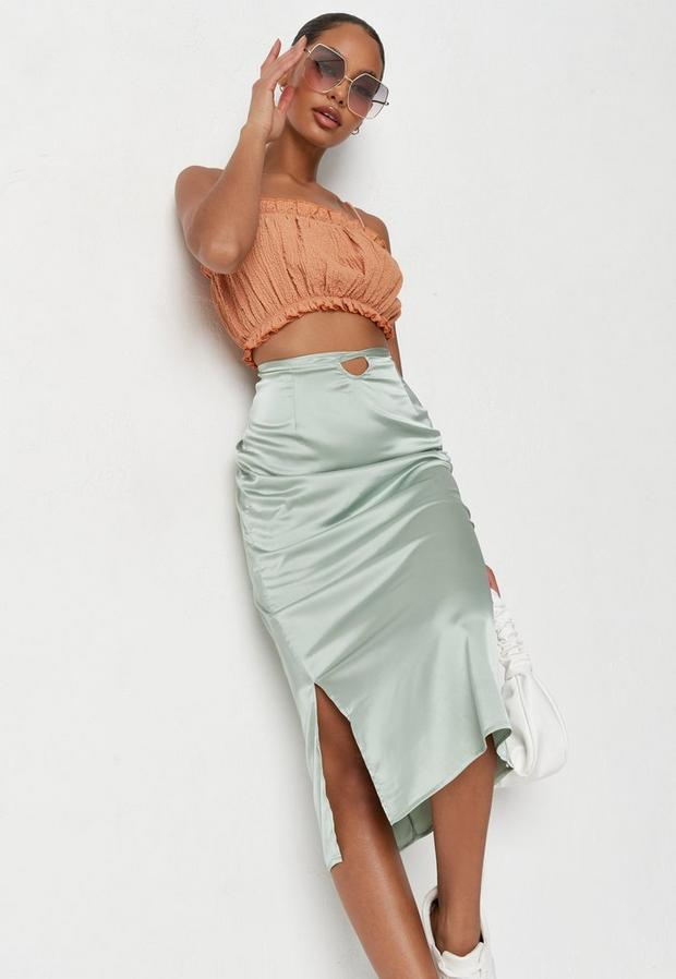 Petite Green Wrap Around Satin Skirt