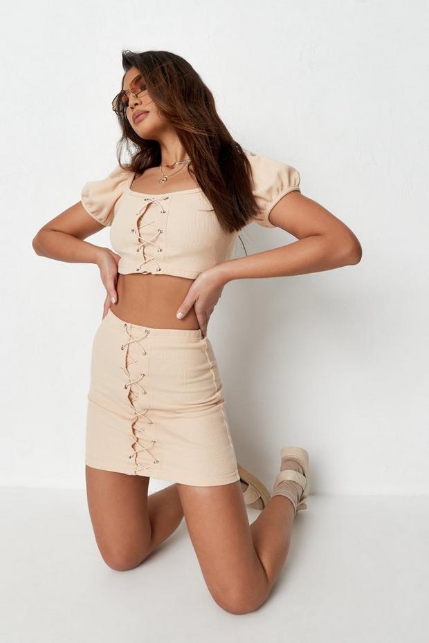 Petite Beige Co Ord Waffle Mini Skirt