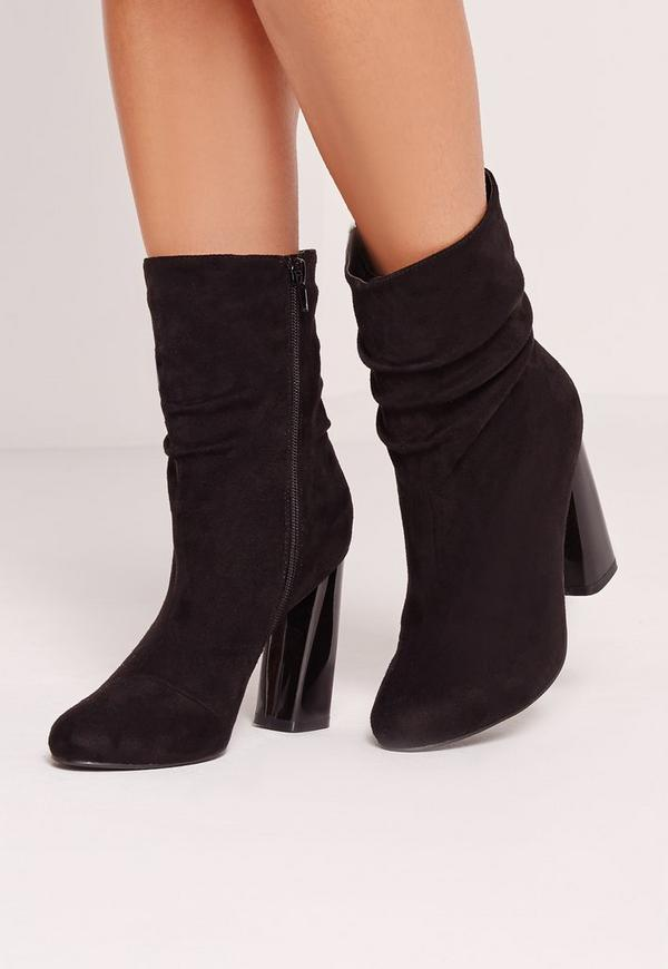 black faux suede rouched flared heel ankle boots missguided